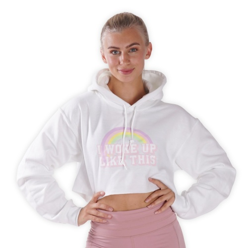 Cropped - I Woke Up Like This - White Lohilo hoodie in the group SALE at LOHILOFOODS AB (41309_r)