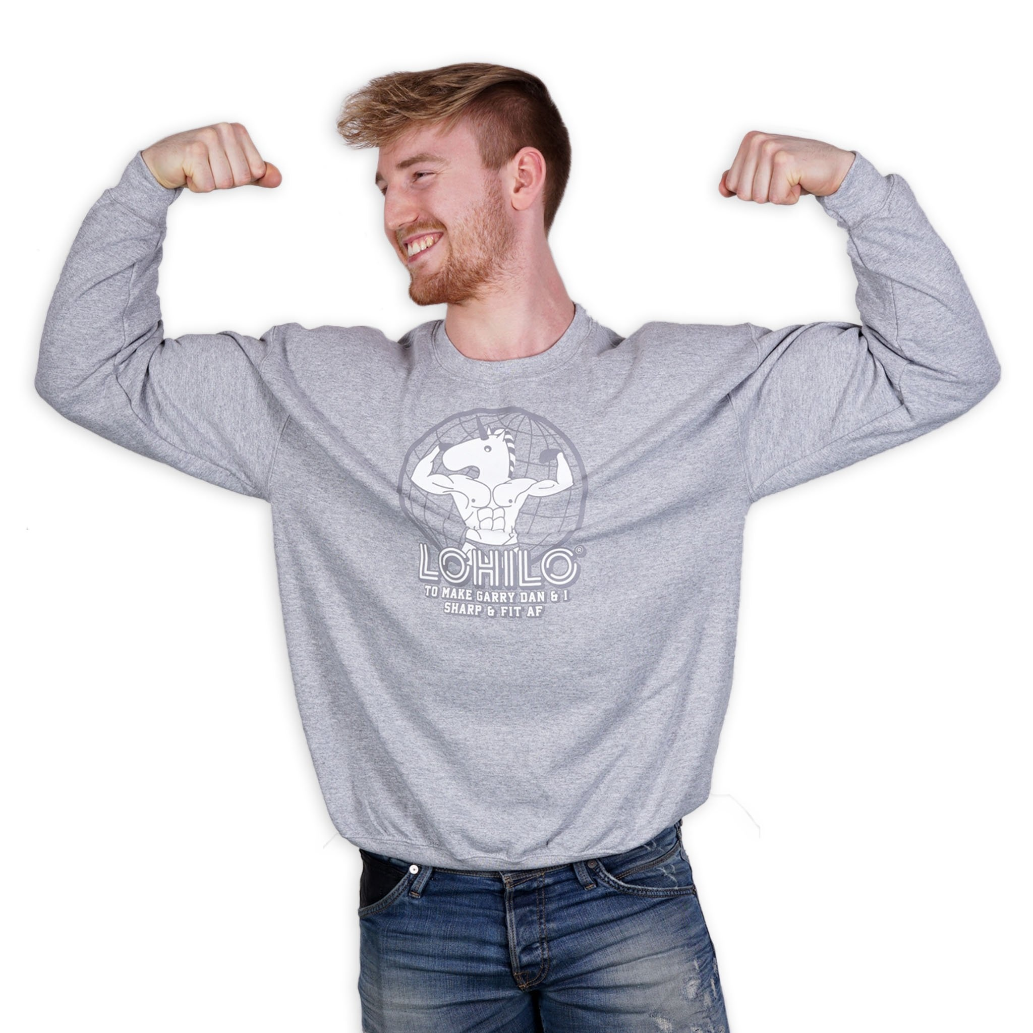 FIT AF- Gray Lohilo Crew Neck in the group Fitness Clothing at LOHILOFOODS AB (41509_r)