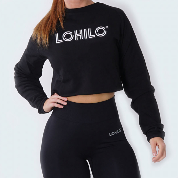 Cropped Black LOHILO Sweater in the group ALL PRODUCTS / FITNESS CLOTHING / The Black Collection at LOHILO Foods AB (publ) (41775_r)