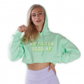 Cropped - No filter Good AF - Green Lohilo Hoodie